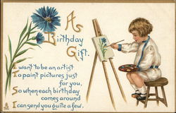 """A Birthday Gift"" - Child Painting at Easel"