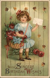 Little Girl Holding a Basket of Flowers and a Letter