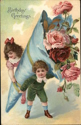 Birthday Greetings (Two Children Holding Large Bundle of Roses)