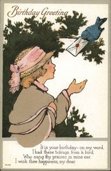 Girl Receiving Letter from Bluebird