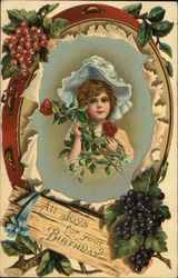 A Girl in a Bonnet Holding Roses