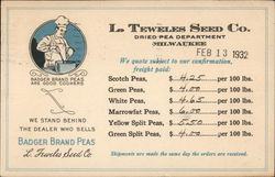 L.Teweles Seed Co. Dried Pea Dept. Price List