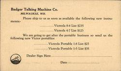Correspondence Card from Badger Talking Machine Co.