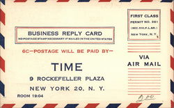 Postage-Paid Time Magazine Subscription Business Reply Card