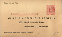 Correspondence Card from Wisconsin Telphone Company