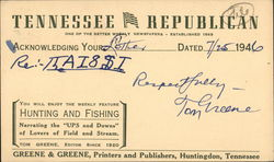 Correspondence Card from the Tennessee Republican