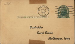 Correspondence Card from Bickel Meat & Grocery Co., McGregor, Iowa