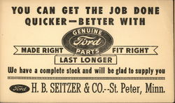 Ford - For Parts H. B. Seitzer & Co. St. Peter, Minn.