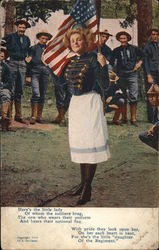 Woman Holding Flag In Uniform with Male Soldiers in Background