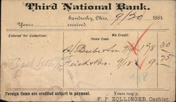 Correpondence Card from Third National Bank, Sandusky, Ohio