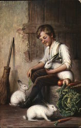 Boy with 3 Rabbits