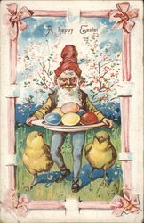 """A Happy Easter""- Man with Chicks and Platter of Eggs"