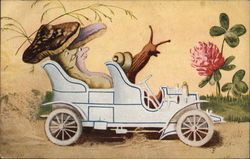 Snail Driving Car With Mushrooms