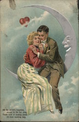 A Young Couple Sitting on the Moon