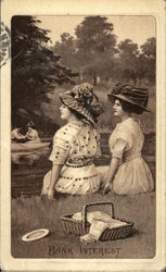 """Bank Interest"" -Two Women Sitting On Riverbank Postcard"