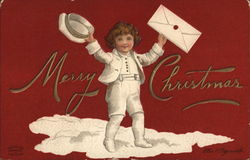 Merry Christmas - A Boy Holding a Hat and a Letter
