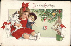 Christmas Greetings - A Girl with Cats and a Doll
