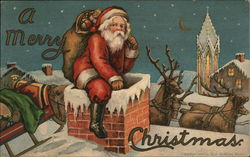 """A Merry Christmas"" - Santa With Toys Climbing Down Chimney"