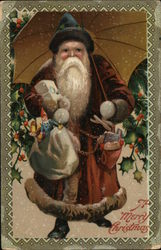 """A Merry Christmas"" Santa In Black Hat Holding Sacks of Toys"