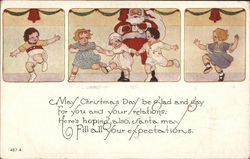 Three Frames with Santa and Dancing Children