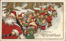Santa and Many Children In the Snow