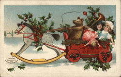 """Santa Claus Express"" - Cart of Toys Driven by Bear, Pulled by Rockinghorse"
