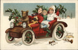 Children Riding in a Car with a Bear