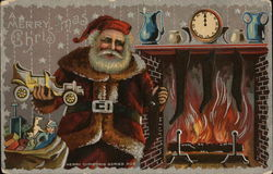 Santa Putting Toys in Stockings by Fire