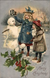 A Merry Christmas - Girls Building Snowman