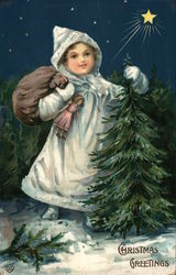 Girl with a Sack of Presents and Christmas Tree
