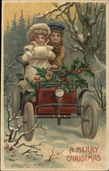 A Couple Riding a Car in the Snow