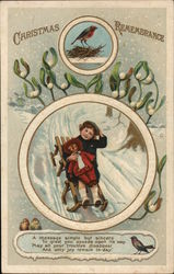 CHRISTMAS REMEMBRANCE - Picture of a Boy on a Sled