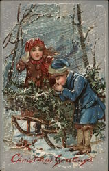 Children in Snowstorm with Sleigh