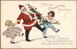 Marry Christmas Greetings - Santa Playing with Children