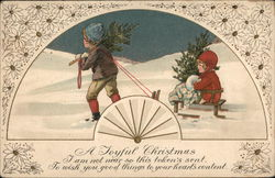 """A Joyful Christmas"" - Boy Pulling Girl On Sled"