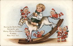 Child on Rocking Horse with Baby Santas