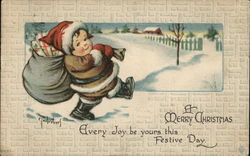 Child Santa Carrying Presents, Snow Scene