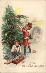 Boy and Girl Decorating Christmas Tree