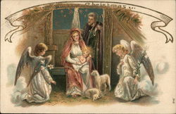 A Merry Christmas - Nativity Scene with Two Angels, Lambs