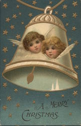 """A Merry Christmas"" - Two Angels' Faces in White Bell"