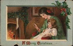 A Mother and Child SItting by the FIreplace