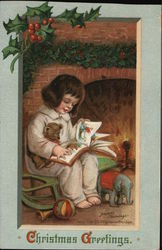 Girl Sittiing by the Chimney Reading a Book