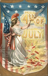 """4th of July"" - Liberty Holding Flag and Torch"