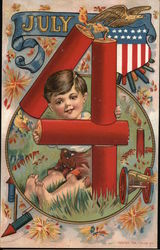 July 4 - Boy with 4 Firecrackers