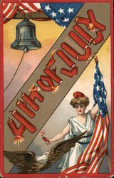 """4th of July"" in Firecrackers with Liberty, Flag, Eagle and Bell"
