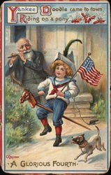 """A Glorious Fourth"" - Man Playing Flute for Boy Riding Toy Horse"