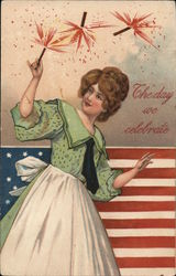 The Day We Celebrate - Woman Holding Sparkler in Front of Flag