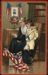 Woman Showing Boy Patriotic Mementoes