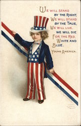 Boy as Uncle Sam with Red, White Blue Ribbon