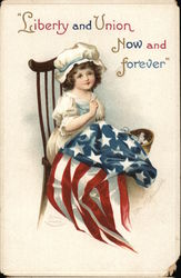 """Liberty and Union Now and Forever"" - Girl in Chair Sewing Flag"